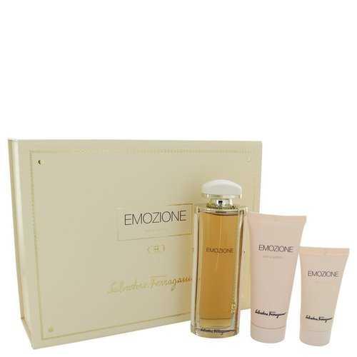 Emozione by Salvatore Ferragamo Gift Set -- 3.1 oz Eau De Parfum Spray + 1.7 oz Body Lotion + 3.4 oz Shower Gel (Women)