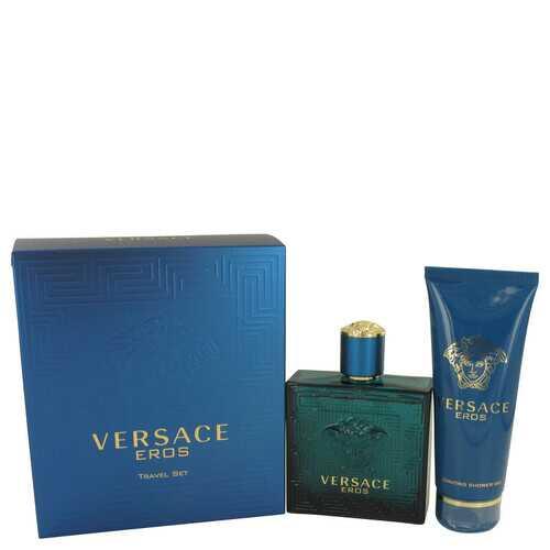 Versace Eros by Versace Gift Set -- 3.4 oz Eau De Toilette Spray + 3.4 oz Shower Gel (Men)