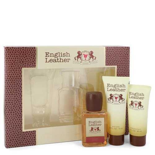 ENGLISH LEATHER by Dana Gift Set -- 3.4 oz Cologne Body Spash + 2 oz After Shave Balm + 2.5 oz Body Wash (Men)