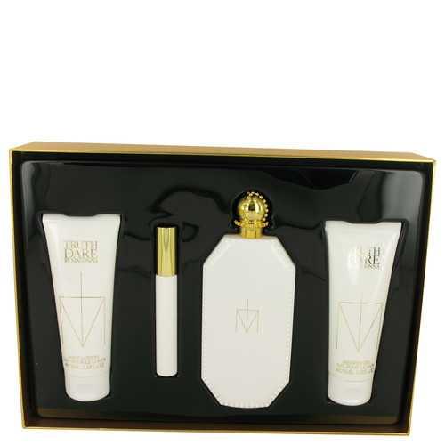 Truth or Dare by Madonna Gift Set -- 2.5 oz Eau De Parfum Spray + 2.5 oz Body Lotion + 2.5 oz Shower Gel + .3 oz Mini EDP RollerBall (Women)