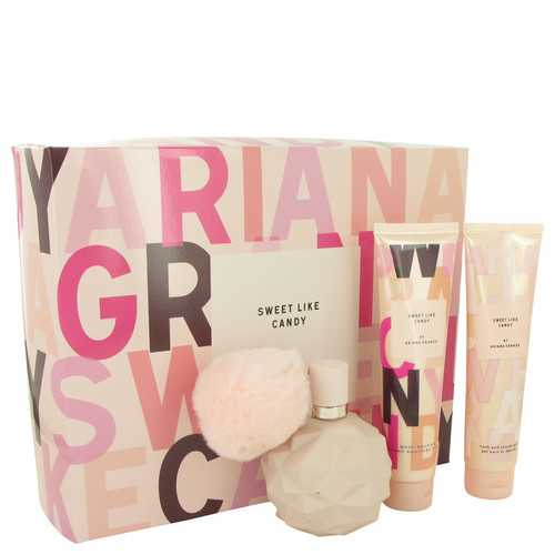 Sweet Like Candy by Ariana Grande Gift Set -- 3.4 oz Eau De Parfum Spray + 3.4 oz Body Souffle + 3.4 oz Bath & Shower Gel (Women)