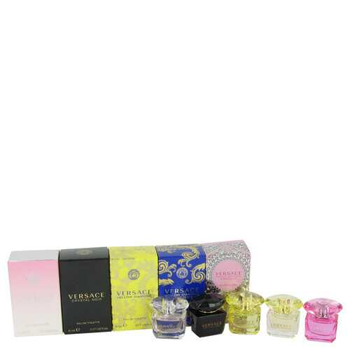 Bright Crystal by Versace Gift Set -- Miniature Collection Includes .17 oz minis of Crystal Noir Bright Crystal Yellow Diamond Bright Crystal Absolu and Yellow Diamond Intense (Women)