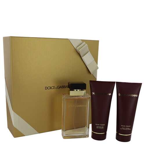 Dolce & Gabbana Pour Femme by Dolce & Gabbana Gift Set -- 3.4 oz Eau De Parfum Spray + 3.4 oz Shower Gel + 3.4 oz Body Lotion (Women)