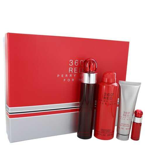 Perry Ellis 360 Red by Perry Ellis Gift Set -- 3.4 oz Eau De Toilette Spray + .25 oz Mini EDT Spray + 6.8 oz Body Spray + 3 oz Shower Gel (Men)