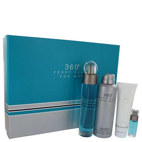 perry ellis 360 by Perry Ellis Gift Set -- 3.4 oz Eau De Toilette Spray + 6.8 oz Body Spray + 3 oz Shower Gel + .25 oz Mini EDT Spray (Men)