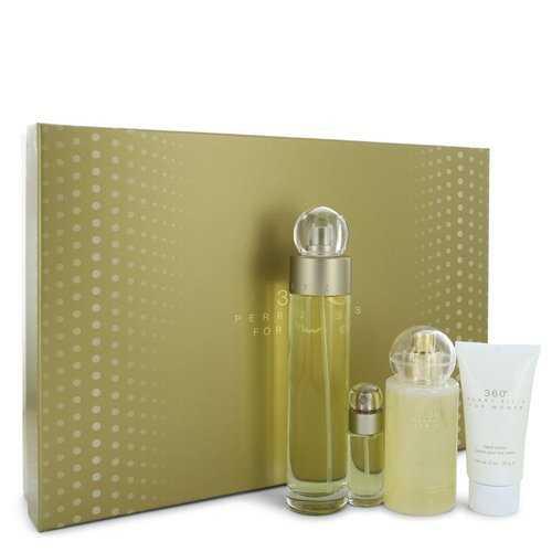 perry ellis 360 by Perry Ellis Gift Set -- 3.4 oz Eau De Toilette Spray + 4 oz Body Mist + 2 oz Hand Cream + .25 Mini EDT Spray (Women)