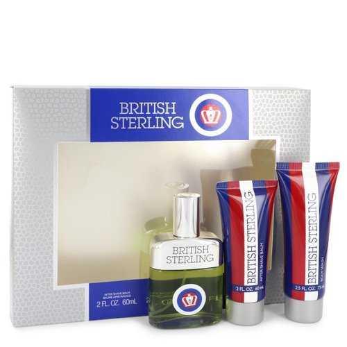 BRITISH STERLING by Dana Gift Set -- 2.5 oz Cologne Spray + 2.5 oz Body Wash + 2 oz After Shave Balm (Men)