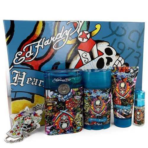 Ed Hardy Hearts & Daggers by Christian Audigier Gift Set -- 3.4 oz Eau De Toilette Spray + 3 oz Shower Gel + 2.75 oz Deodorant Stick + .25 oz Mini EDT Spray + Free Key Chain (Men)