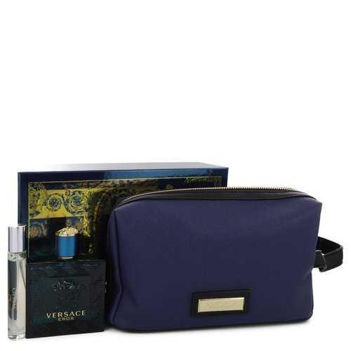 Versace Eros by Versace Gift Set -- 3.4 oz Eau De Toilette Spray + 0.3 oz Mini EDT Spray in Pouch (Men)