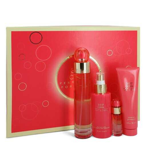 Perry Ellis 360 Coral by Perry Ellis Gift Set -- 3.4 oz Eau De Parfum Spray + .25 oz Mini EDP Spray + 4 oz Body Mist Spray + 3 oz Shower Gel (Women)