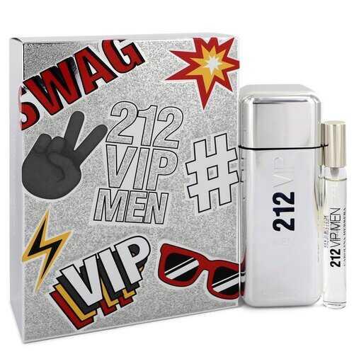 212 Vip by Carolina Herrera Gift Set -- 3.4 oz Eau De Toilette Spray + .34 oz Mini EDT Spray (Men)