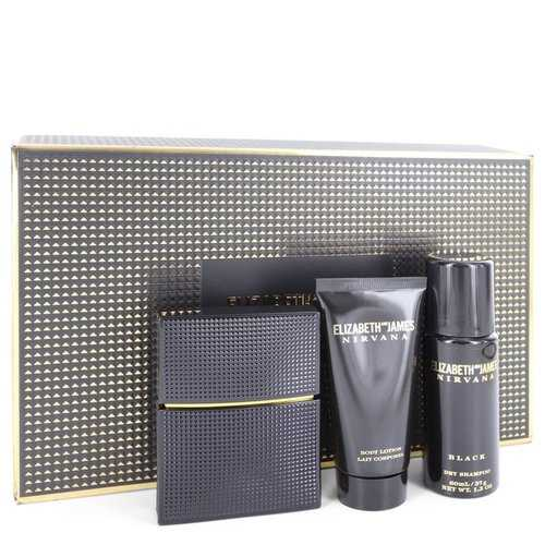 Nirvana Black by Elizabeth and James Gift Set -- 1 oz Eau De Parfum Spray + 1.7 oz Body Lotion + 1.3 oz Dry Shampoo (Women)