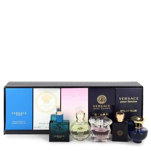 Versace Eros by Versace Gift Set -- The Best of Versace Men's and Women's Miniatures Collection Includes Versace Eros Versace Pour Homme Dylan Blue Versace Pour Femme Dylan Blue Bright Crystal and Versace Eros Pour Femme (Men)