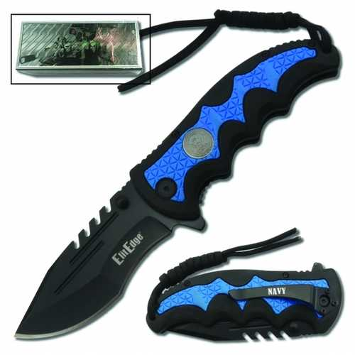 Out of Stock (E.T.A. 11/30-12/7)Navy Folding Knife Assisted Open w/Belt Clip & Paracord