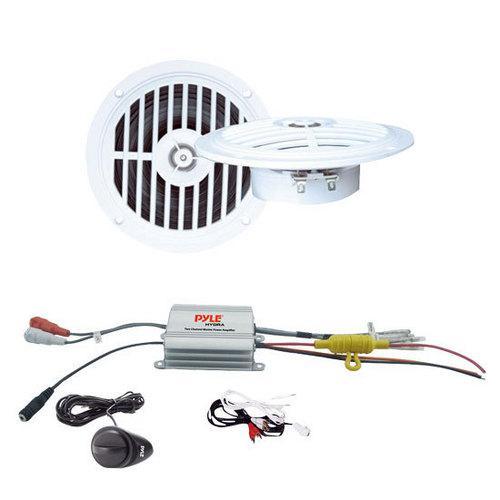 2 Channel Waterproof MP3/ Ipod Marine Power Amplifier + 5 '' Dual Cone Waterproof Stereo Speaker System