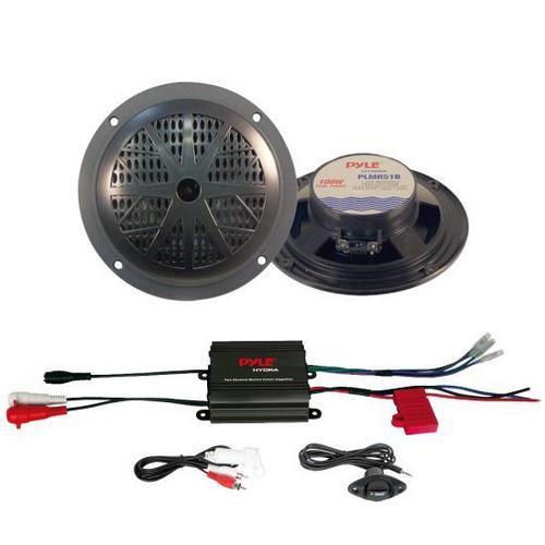 2 Channel Waterproof MP3/ Ipod Marine Power Amplifier + Pair of 5.25'' 100W Speakers (Black)