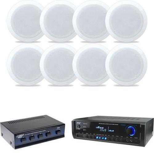 In-Wall / In-Ceiling Dual 6.5-inch Speaker System(8), 2-Way, Flush Mount, White4 Channel High Power Stereo Speaker Selector300 Watt Digital Home Theater Stereo Receiver, Aux (3.5mm) Input, MP3/USB/AM/FM Radio, (2) Mic Inputs