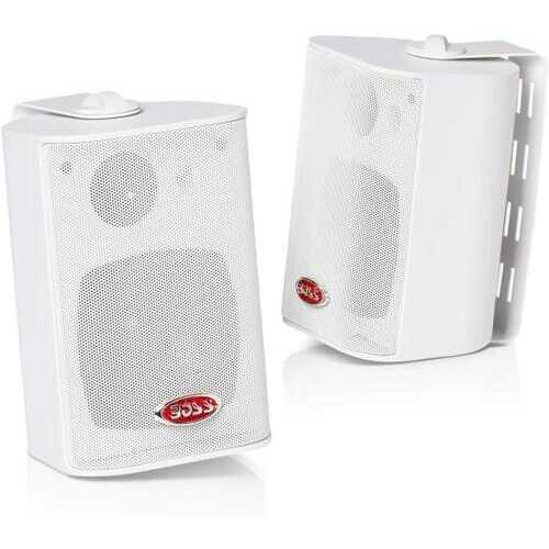Boss Audio MR4.3W 200-Watt 3 Way Marine 4-Inch Enclosed System Speaker, White, Sold In Pairs
