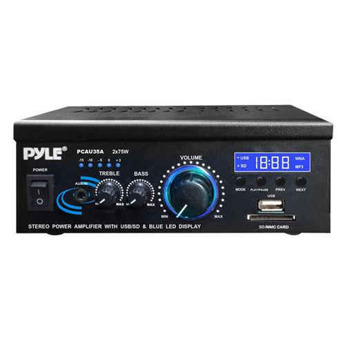 Digital Stereo Amplifier - Compact Audio Speaker Amp, AUX Input, USB/SD Readers, LED Display, 2 x 75 Watt