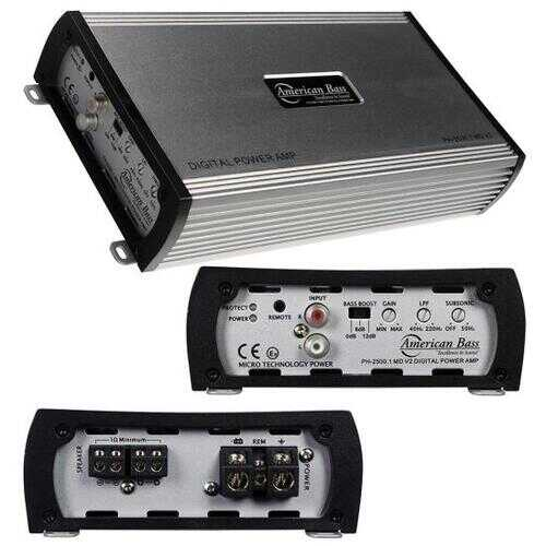 American Bass PH25001MDV2 2500W Max Monoblock Class D Car Amplifier