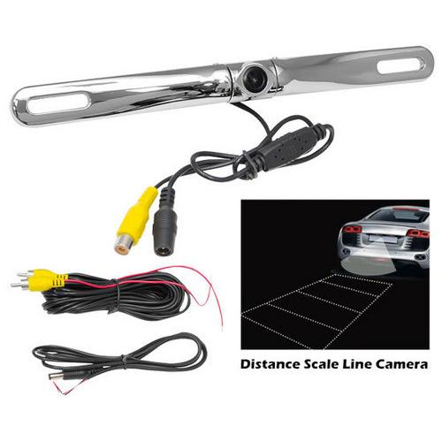 License Plate Mount Rear View Backup Parking/Reverse Assist Camera, Built-in Distance Scale Lines, Waterproof, Swivel Angle Adjustable Cam, Zinc Metal Chrome