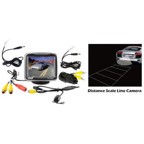 Rear View Backup Camera & Monitor Parking Assist System, 3.5'' Screen, Night Vision, Distance Scale Lines, Waterproof Cam, Universal Mount