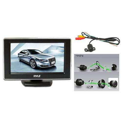 Rear View Backup Camera & Monitor System, Night Vision Waterproof Cam, 4.3'' Display, Distance Scale Lines, Parking/Reverse Assist