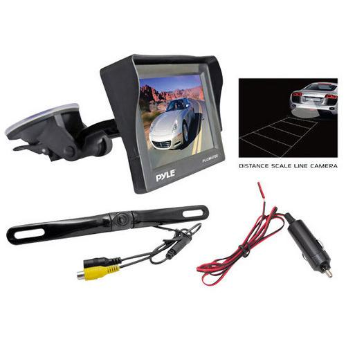 Rear View Backup Camera & Monitor Parking / Reverse Assist System, Includes Waterproof Night Vision Cam, Angle Adjustable, Distance Scale Lines, 4.7'' LCD Display