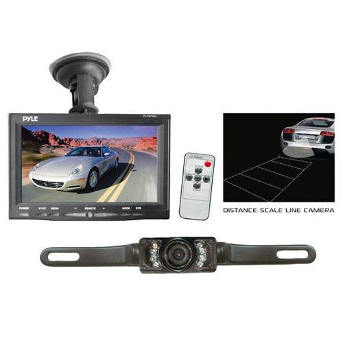 Backup Rearview Camera & Monitor Parking/Reverse Assist System, Waterproof, Night Vision, 7'' Display, Distance Scale Lines, Swivel Angle Adjustable Cam