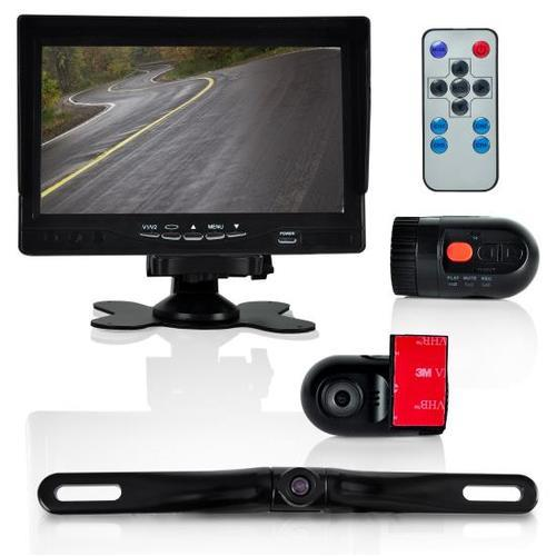 DVR Dash Cam Vehicle Driving Video Camera & Monitor System Kit, Waterproof Rearview Backup Parking Camera, (2) Interior DVR Cams, 7'' Display