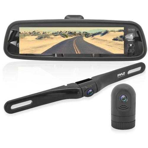 HD Video Recording System with Rearview Mirror Monitor, 7.4 -inch LCD Display, Compact Dash Cam, Rear-View Backup Camera