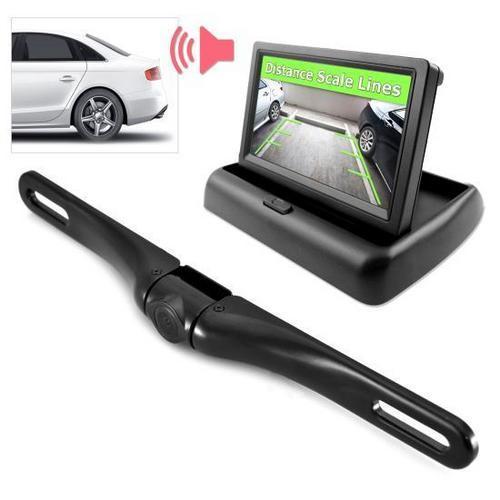 Rearview Backup Camera & Monitor Driving Assist System, Parking / Reverse Speaker Alarm Depth Sensor, Waterproof Night Vision Angle Adjustable Cam, 4.3'' LCD Display