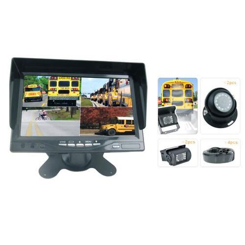 Rearview Backup Camera & Video Monitor System Kit, Quad View Split Screen Cam Display, (4) Commercial Grade Night Vision Waterproof Cameras, 7'' Screen, Dual DC 12/24V (for Bus, Truck, Trailer, Van)