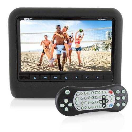 Headrest Vehicle 9'' Video Display Monitor, CD/DVD Player, USB/SD Readers, HDMI Port (Black)
