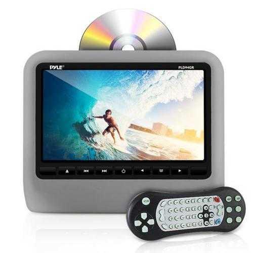 Headrest Vehicle 9'' Video Display Monitor, CD/DVD Player, USB/SD Readers, HDMI Port (Grey)