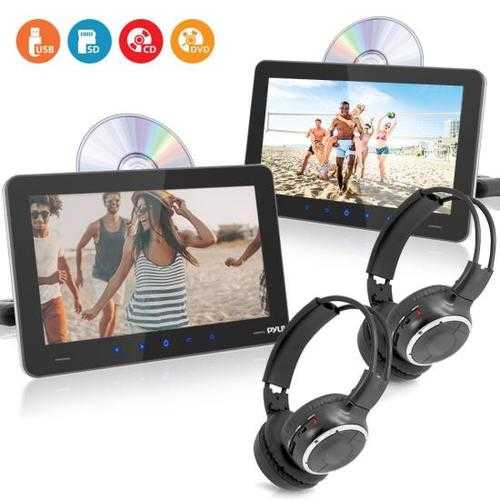 Touchscreen CD/DVD Player Bundle Kit - Dual Vehicle Headrest Mount Multimedia Entertainment Systems with Wireless Headphones (9.4 -inch Displays)