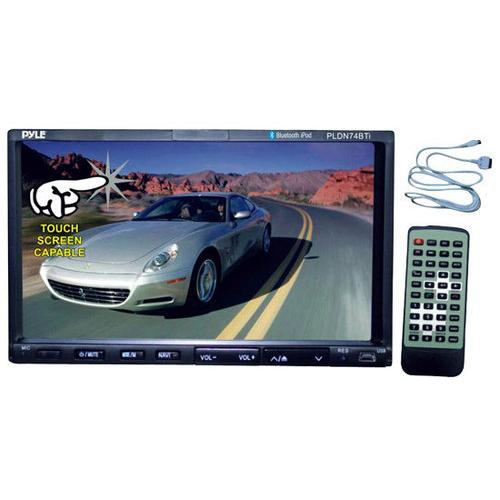 7'' Double DIN Bluetooth Headunit Receiver, Built-in Mic for Hands-Free Call Answering, Touch Screen, DVD Player, USB/SD Readers, AUX Input, AM/FM Radio