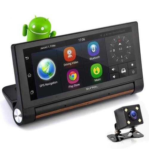 Touchscreen Android DVR Dashcam with Dual Built-in Cameras, GPS Navigation, Wi-Fi, Bluetooth Wireless, 7'' Display Screen