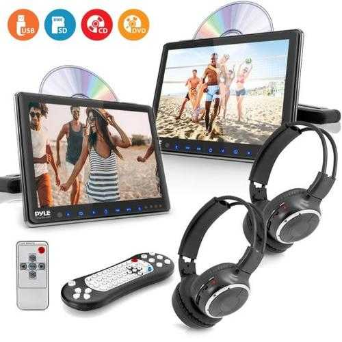 Dual Vehicle Headrest Mount CD/DVD Player System - Car Video Entertainment Display Monitors with Wireless Headphones (9.4 -inch)