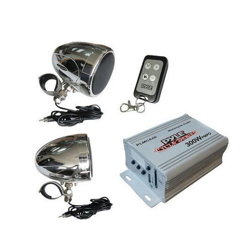 100 Watt Weatherproof Speaker and Amplifier System, with Dual 3'' Speakers, USB/SD Card Readers, Aux (3.5mm) Input, Handlebar Mount, FM Radio (for Motorcycle, ATV, Snowmobile, Scooter, Boat, Waverunner, Jetski, etc.)