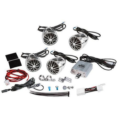 (4) Speakers - 800 Watt Weatherproof Speaker Kit for Motorcycle, ATV, Snowmobile - Includes Amplifier, Handle-Bar Mounts & iPod/MP3 Input