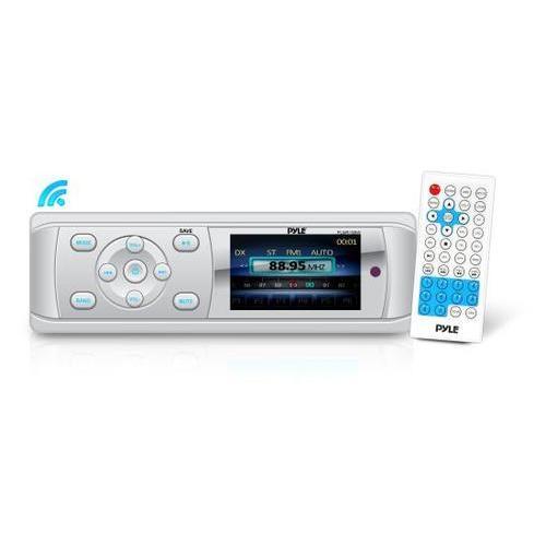 Universal Bluetooth Marine Stereo Radio Receiver, Water-Resistant/Weatherproof, 3 Color LCD Display, MP3/USB Reader, AM/FM Radio, Weatherband