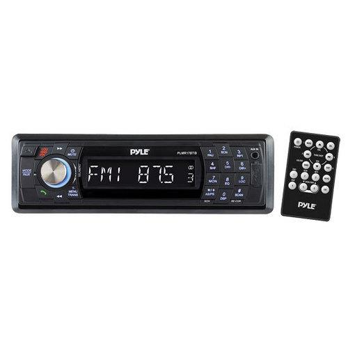 Bluetooth Stereo Radio Headunit Receiver, Wireless Streaming & Hands-Free Call Answering, Aux (3.5mm) MP3 Input, USB Flash & SD Card Readers, Remote Control, Single DIN (Black)