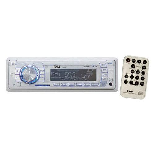 Stereo Radio Headunit Receiver, Aux (3.5mm) MP3 Input, USB Flash & SD Card Readers, Remote Control, Single DIN (White)