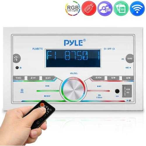 Marine Stereo Receiver Power Amplifier - AM/FM/MP3/USB/AUX/SD Card Reader Marine Stereo Receiver, Single DIN, 30 Preset Memory Stations, LCD Display with Remote Control