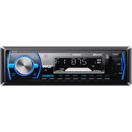 Bluetooth In-Dash Stereo Radio Headunit Receiver, Wireless Music Streaming, Hands-Free Call Answering, MP3 Playback, USB/SD Card Readers, Aux (3.5mm) Input, Remote Control, Single DIN