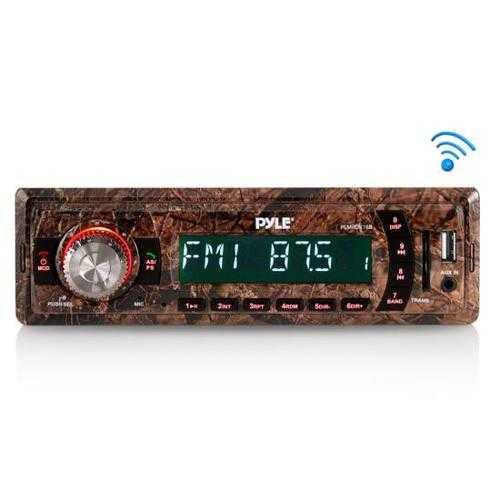 Camo Stereo Radio Headunit Receiver, Bluetooth Wireless Streaming, Hunting Camouflage Style, MP3/USB/SD/AUX/FM Radio, Single DIN