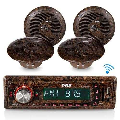 Camo Marine Stereo Receiver & Speaker Kit, Bluetooth Wireless Streaming, 6.5 Waterproof Speakers, Hunting Camouflage Style, MP3/USB/SD/AUX/FM Radio, Single DIN