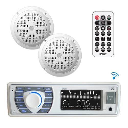 Bluetooth Marine Receiver Stereo & Speaker Kit, Hands-Free Calling, Wireless Streaming, MP3/USB/SD Readers, AM/FM Radio, (2) 5.25 Waterproof Speakers (White)