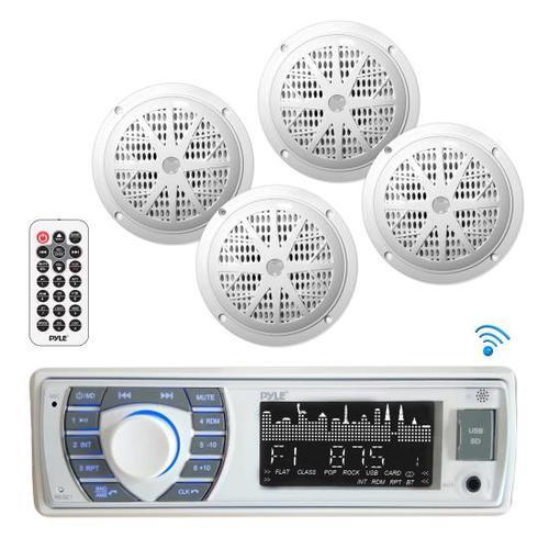 Bluetooth Marine Receiver Stereo & Speaker Kit, Hands-Free Calling, Wireless Streaming, MP3/USB/SD Readers, AM/FM Radio, (4) 6.5 Waterproof Speakers (White)